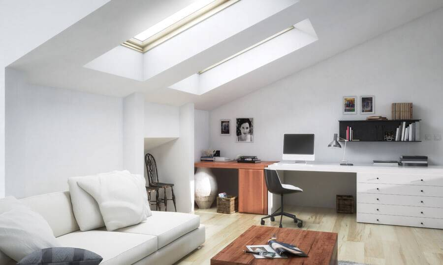 loft conversion office with white walls and a computer