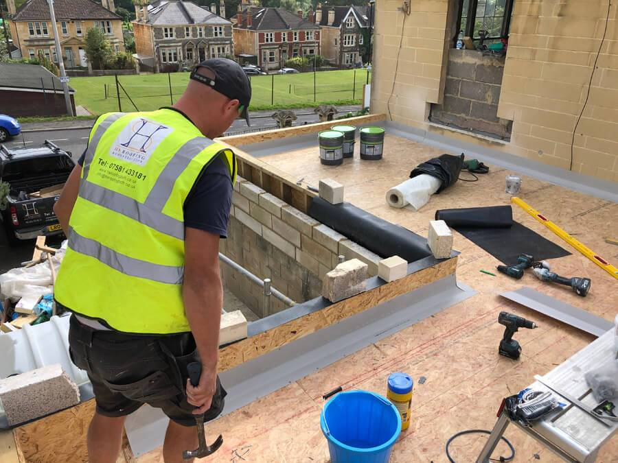 flat roof being installed