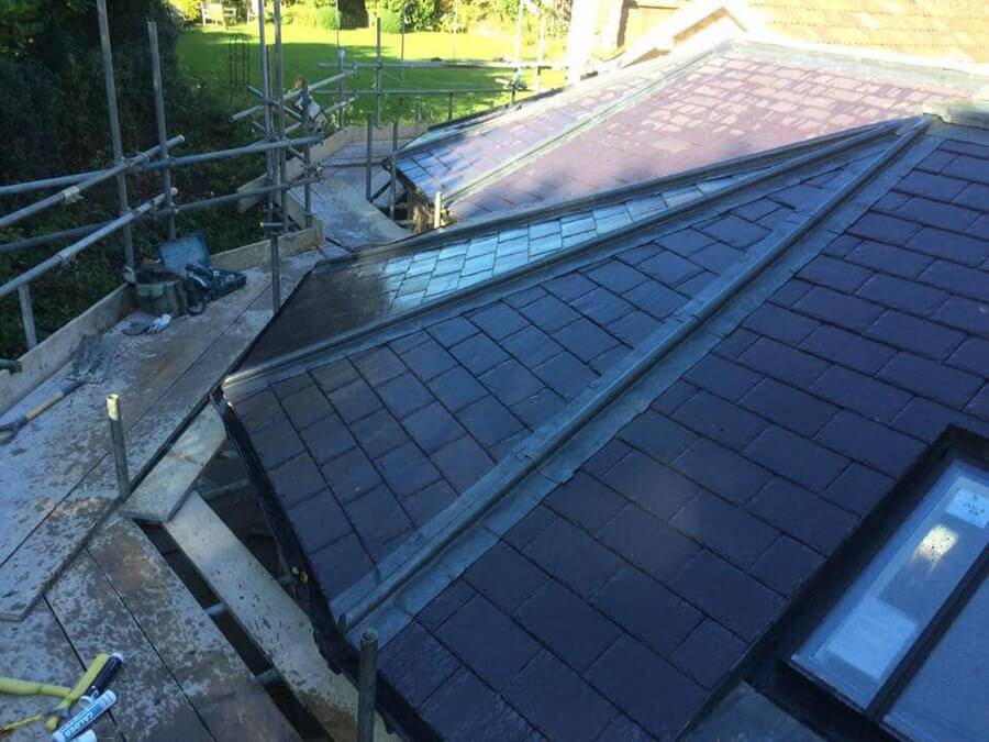 slate roof and scaffolding